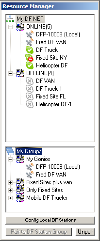 HuntMASTER Resource Manager view of online/offline DF sensors